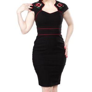 Hell Bunny Vixen Black Hibiscus Wiggle Dress L XL